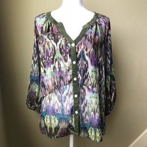 Anthropologie sheer lightweight blouse